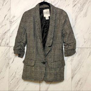 BB Dakota Tweed Single Button Plaid Blazer SZ 6